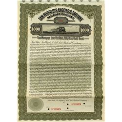 San Pedro, Los Angeles, & Salt Lake Railroad Company Specimen Bond