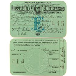 Brotherhood of Locomotive Engineers Traveling Card