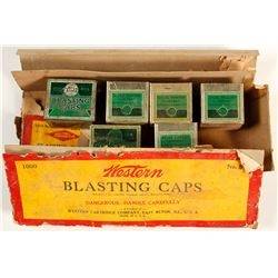 Western Blasting Caps Cardboard Box with assorted tins