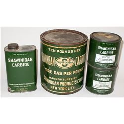 Four Shawiningan Carbide Tins