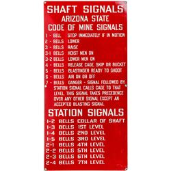 Bright Red Arizona mine Bell Signal Sign