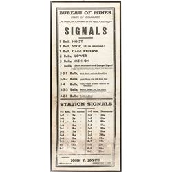 Colorado Mine Bell Signal Sign on Cloth