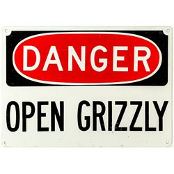 Danger Open Grizzly Sign