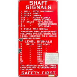 Bright Red Mine Bell Signal Sign