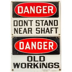 Two Mine Signs, One Enamel, One Paint-on Tin
