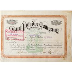 The Giant Powder Company Stock Certificate
