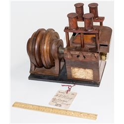 Original Wood Patent Model of an H. W. King Stampmill