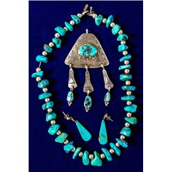 Turquoise/silver Necklace, Pendant and Earrings