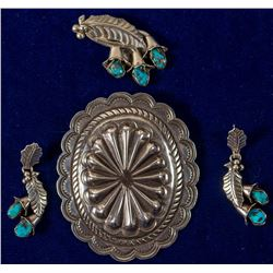 Silver Pendant, Silver & Turquoise Pendant & Earrings