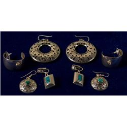 Four Pair Turquoise and Silver Earrings #2