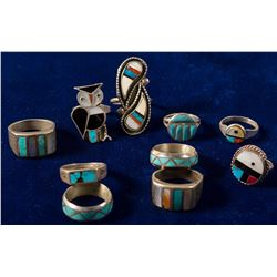 Lot of 10 Zuni Inlay Rings