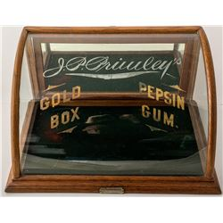 J Riswig Curved Display Case: J. P. Priwley's Etched on Glass