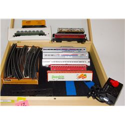 HO Rolling Stock mixed lot with wood display case