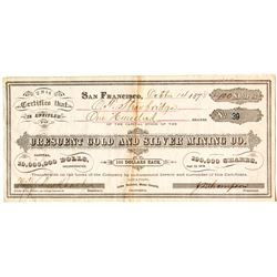 Crescent Gold & Silver Mining Company Stock Certificate from Mammoth, Mono County