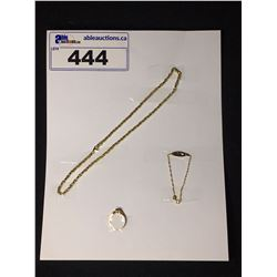 ONE 14KT YELLOW GOLD BAR LINK CHAIN 45CM LONG REPLACEMENT VALUE: $1850.00. LADIES 10KT YELLOW GOLD