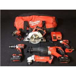BAG OF ASSORTED MILWAUKEE POWER TOOLS: CORDLESS DRILL, IMPACT DRILL, CIRCULAR SAW, SAWZALL,