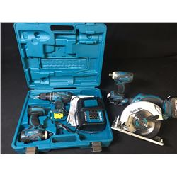 ASSORTED MAKITA POWER TOOLS: CORDLESS DRILL, (2) IMPACT DRILLS WITH CHARGER & CORDLESS CIRCULAR