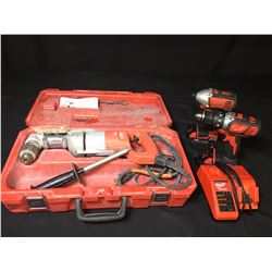 MILWAUKEE RIGHT ANGLE CORDED DRILL, MILWAUKEE CORDLESS DRILL, IMPACT DRILL, CHARGER & 2 BATTERIES