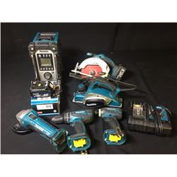 ASSORTED MAKITA POWER TOOLS: CORDLESS DRILL, IMPACT GUN, CIRCULAR SAW, JOB SITE RADIO, GRINDER &