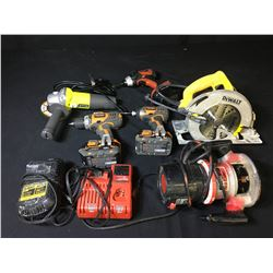 ASSORTED POWER TOOLS: RIDGID CORDLESS DRILLS, RYOBI GRINDER, DEWALT CIRCULAR SAW & MORE