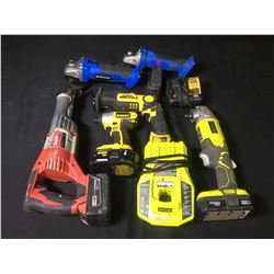 ASSORTED POWER TOOLS: DRILLS, GRINDERS, SAWZALLS