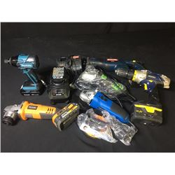 ASSORTED GRINDERS, DRILLS, BATTERIES & CHARGERS