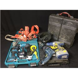 MAKITA DRILL SET, ASSORTED CORDLESS DRILLS, BOSCH HAMMER DRILL, BAG OF WRENCHS, HARNESS & TOOL KIT