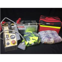 ACMSOL COMPACT SPRAYER, SKYJACK OPERATING REMOTE, ROADSIDE SAFETY KIT & ASSORTED GLOVES