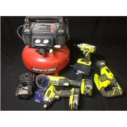 PORTER CABLE 150 PSI AIR COMPRESSOR, AIR IMPACT WRENCH & ASSORTED RYOBI CORDLESS POWER TOOLS
