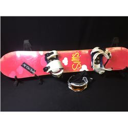 PINK SIMS PRISTINE 146 CM SNOWBOARD WITH BINDINGS, GLOVES, GOGGLES & BAG