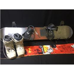 PAIR OF SNOWBOARDS & VANS BOOTS