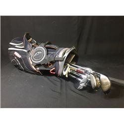 GOLF BAG WITH ASSORTED CLUBS: TITLEIST 915D3 DRIVER, 915F 3-WOOD, MIZUNO MP-33 IRONS 3-9, ODYSSEY