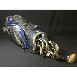 GOLF BAG WITH ASSORTED CLUBS: PING G10 DRIVER, G10 5-WOOD, PING & TAYLORMADE HYRBIDS, G5 IRONS