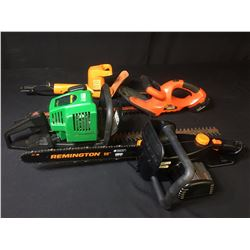WEED EATER GAS HEDGE TRIMMER, PAIR OF ELECTRIC HEDGE TRIMMERS & ELECTRIC CHAINSAW