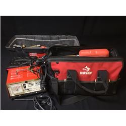 TOOL BOX & TOOL BAG WITH CONTENTS & PAIR OF BATTERY CHARGERS