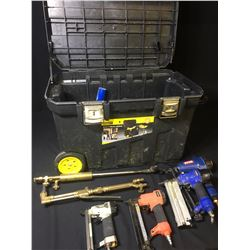 4 ASSORTED BRAD NAILERS, 2 CUTTING TORCHES & MOBILE TOOL BOX WITH CONTENTS