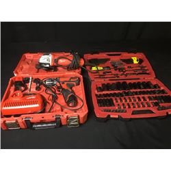 MILWAUKEE CORDLESS DRILL, MILWAUKEE CORDED GRINDER & STANLEY FAT MAX SOCKET SET