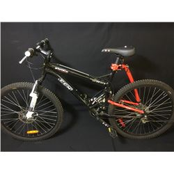 BLACK CCM STATIC 21 SPEED FULL SUSPENSION MOUNTAIN BIKE WITH FRONT DISC BRAKES