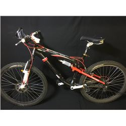 BLACK KRANKED FACTOR 21 SPEED FULL SUSPENSION MOUNTAIN BIKE WITH FRONT DISC BRAKES