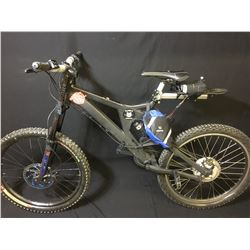 BLACK 18 SPEED FULL SUSPENSION ELECTRIC ASSIST MOUNTAIN BIKE WITH FRONT DISC BRAKES - NO KEY OR