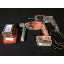 HILTI TE-2-A18 ROTARY HAMMER DRILL WITH CHARGER, 2 BATTERIES & BOSCH BULLDOG HAMMER DRILL