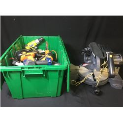 BIN OF ASSORTED POWER TOOLS & CRAFTSMAN MITRE SAW