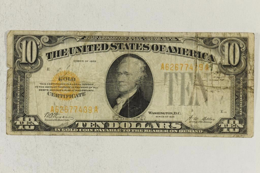 1928 us 10 gold certificate gold seal