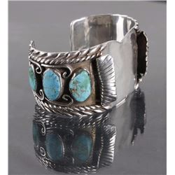 Navajo Sterling Watch Cuff with Turquoise Nugget