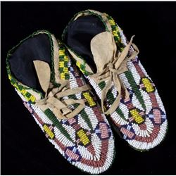 Sioux Fully Beaded Moccasins circa 20th Century
