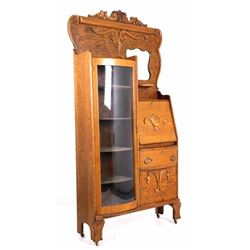 Early Oak Curio Secretary c.1900's