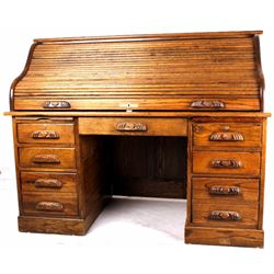 Paneled Oak Lighted Roll Top Desk