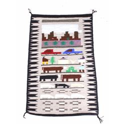 Navajo Pictorial Wool Rug by Irene Begas