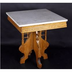East Lake Style Marble Top Oak Parlor Table 19th C