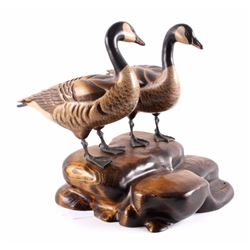 Tom Taber Canada Geese Pair Wood Carving